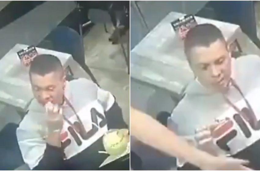 Hombre no deja de comer alitas mientras lo asaltan en Nuevo Léon