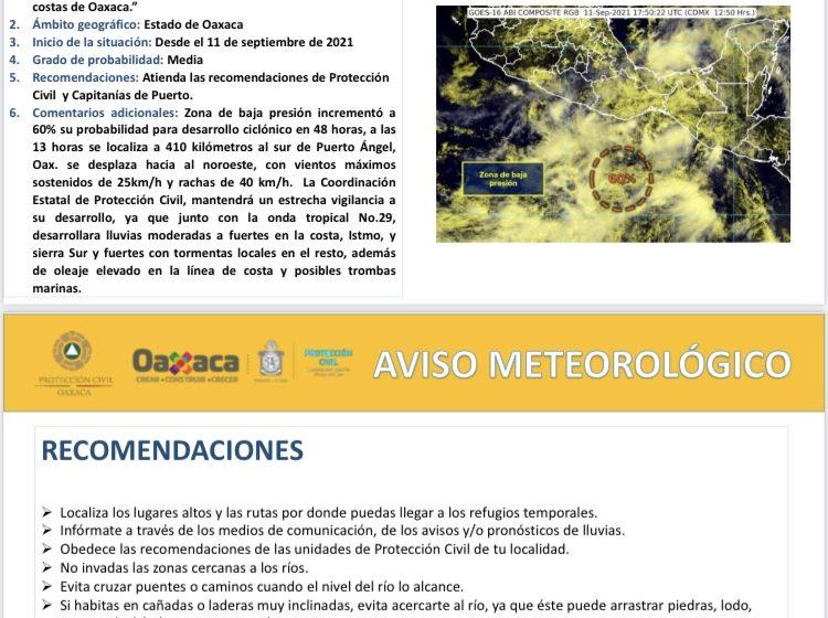 Vigila CEPCO desplazamiento de zona de baja presión y Onda Tropical número 29