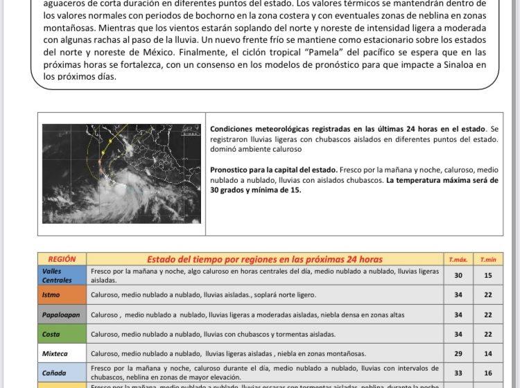 Se pronostican posibles precipitaciones y aguaceros de corta duración en el estado: CEPCO