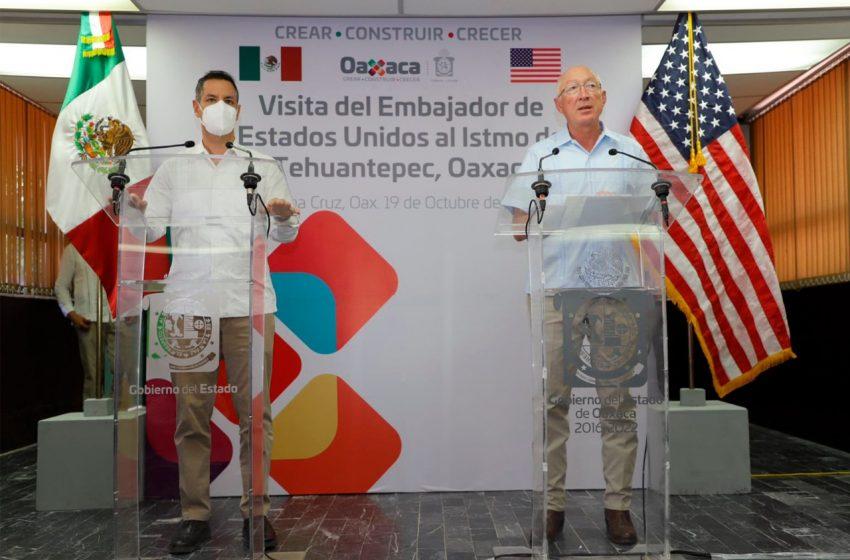 Alejandro Murat y Kenneth Lee Salazar, embajador de EEUU en México,reafirman compromiso de trabajo en torno al Proyecto Interoceánico